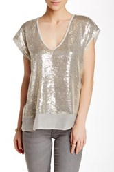 Velvet By Graham And Spencer Sequin Chiffon Top Gray
