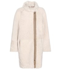 Yves Salomon Shearling Lined Suede Coat Brown