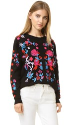 Tanya Taylor Embroidered Charlie Sweater Black Multi