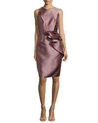 Carmen Marc Valvo Side Peplum Sleeveless Cocktail Dress Size 6 Dogwood
