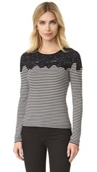 Fuzzi Long Sleeve Sweater White Black