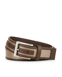 Neiman Marcus Leather Trim Nylon Belt Tan
