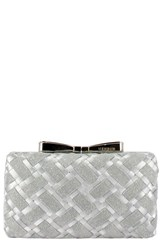 Menbur Woven Box Clutch With Bow Clasp