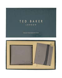Ted Baker Taupe Leather Wallet And Card Holder Set Grey
