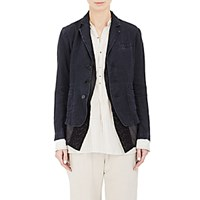 Pas De Calais Women's Herringbone Three Button Jacket And Embroidered Vest Navy