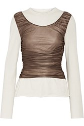 Loewe Ruched Mesh Paneled Cotton And Silk Blend Top Cream