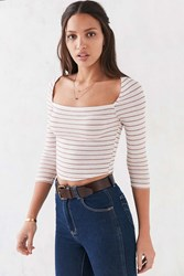 Cooperative First Mate Square Neck Cropped Top Red