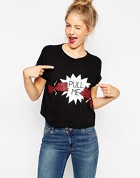 Asos Christmas Cropped T Shirt With Pull Me Print Black