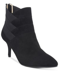 Adrienne Vittadini Sande Pointed Toe Booties Women's Shoes Black Suede