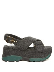 Marni Felt Criss Cross Flatform Sandals Grey