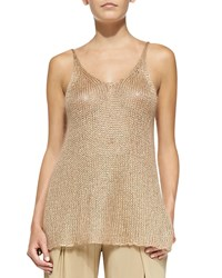 Donna Karan Easy Sleeveless Crocheted Tunic Brown