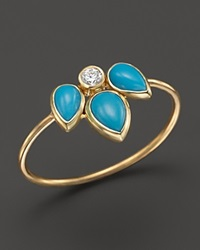 Zoe Chicco 14K Yellow Gold Ring With Turquoise And Diamond Gold Blue