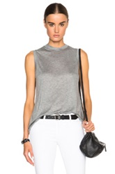 T By Alexander Wang High Neck Flared Tank In Gray