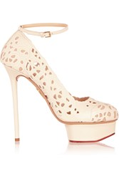 Charlotte Olympia Scribble Dolores Cutout Leather Pumps White