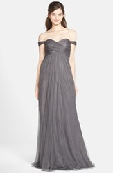 Women's Jenny Yoo 'Willow' Convertible Tulle Gown Shadow Grey