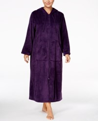 Charter Club Plus Size Hooded Zip Front Robe Only At Macy's Purple