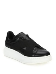 Alexander Mcqueen Criss Cross Chunky Leather Sneakers Black