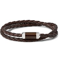 Tateossian Monte Carlo Leather And Sterling Silver Bracelet Brown