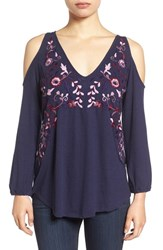 Lucky Brand Women's Cold Shoulder Embroidered Peasant Top