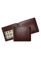 Men's Boconi 'Tyler' Tumbled Leather Billfold Brown Coffee