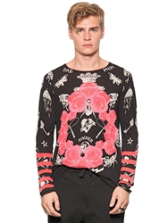 Richmond Rose Printed Fine Knit Cotton Sweater Black Pink