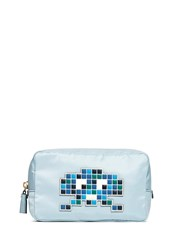 Anya Hindmarch 'Space Invaders' Leather Character Reflective Nylon Cosmetics Pouch Multi Colour