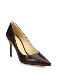 Alexandre Birman Classic Bicolor Eel And Leather Point Toe Pumps Brown