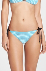 Betsey Johnson 'Stripes Allure' Side Tie Bikini Bottoms Aqua