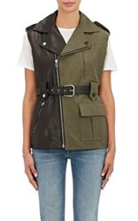 Each X Other Women's Leather And Canvas Asymmetric Belted Vest Black Dark Green Black Dark Green