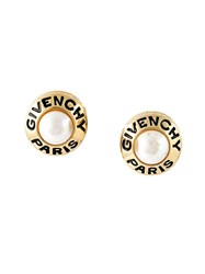 Givenchy Vintage Pearl Clip On Earrings Metallic