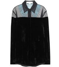 Stella Mccartney Carolina Velvet Blouse With Lace And Mesh Black