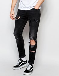 Asos Super Skinny Jeans With Open Rips And Exposed Pocket Bags Black