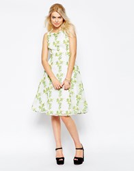 Traffic People Twirl Dress In Floral Print Greencream