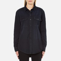 Msgm Women's Logo Back Oversized Denim Shirt Black