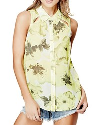 Guess Floral Button Front Top Lime