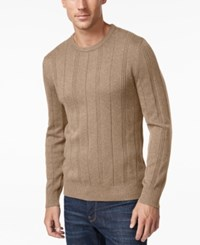 John Ashford Men's Crew Neck Striped Texture Sweater Only At Macy's Toasted Beige