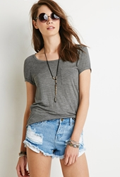 Forever 21 Cuffed Sleeve Pocket Tee Grey