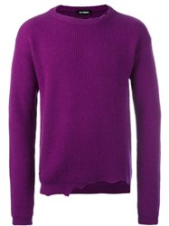 Raf Simons Distressed Jumper Pink And Purple