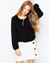 Vero Moda Long Sleeve Top With Tie Front Black