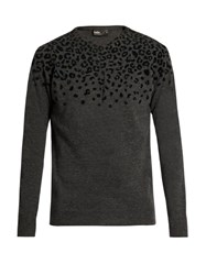 Kolor Flocked Leopard Print Wool Sweater Grey