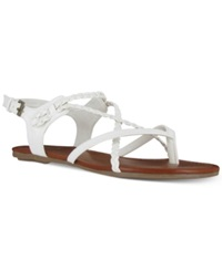 Mia Adriana Braided Flat Strappy Sandals Women's Shoes White
