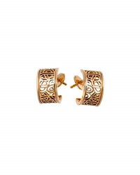 Poiray 18K Rose Gold Wire Heart Hoop Earrings Pink Gold