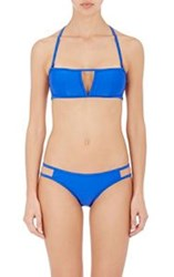 Chromat Caged Back Bandeau Bikini Top Blue