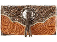 American West Heart Of Gold Tri Fold Wallet Tan Grey Brown Wallet Handbags Multi