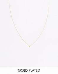 Asos Gold Plated Sterling Silver August Birthstone Choker Necklace Peridotgold