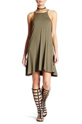 Angie High Neck Knit Swing Dress Green
