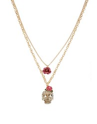 Betsey Johnson Skull And Rose Duo Pendant Necklace Pink