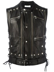 Faith Connexion Studded Zip Up Sleeveless Jacket Black