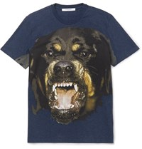 Givenchy Rottweiler Print Cotton Jersey T Shirt Blue