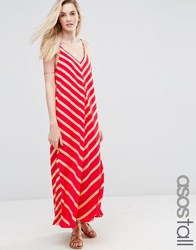 Asos Tall Chevron Stripe Maxi Dress Red Multi